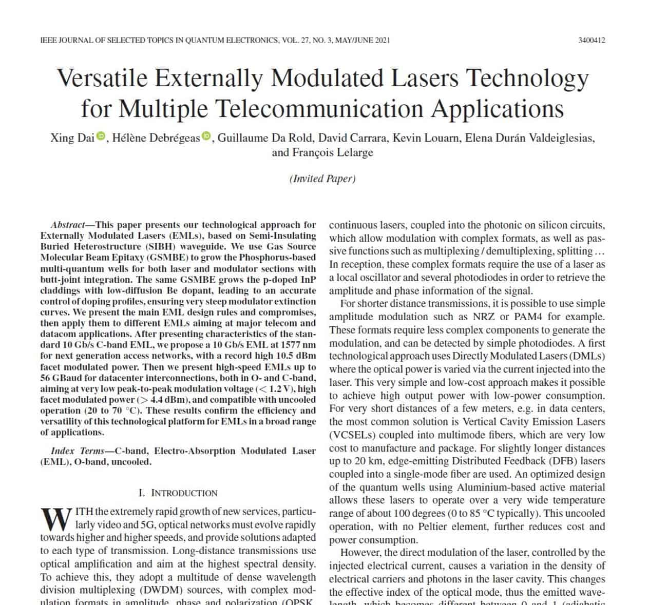 Versatile Externally Modulated Lasers Technology for Multiple Telecommunication Applications